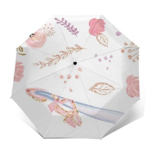 Paraguas de viaje a prueba de viento automático abierto y cerrado rosa Glitter floral bailarina con pelo rubio x pulgadas plegable pequeño paraguas compacto para lluvia