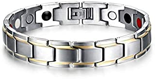 Titanium steel health bracelet unique style magnetic men hand ring personality wristband silver