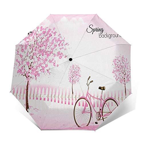 Regenschirm Taschenschirm Kompakter Falt-Regenschirm, Winddichter, Auf-Zu-Automatik, Verstärktes Dach, Ergonomischer Griff, Schirm-Tasche, Frühlingsblühende Bäume Landschaftsgestalter