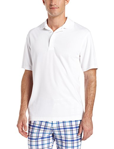 PGA TOUR Men's Short Sleeve Airflux Solid Polo, Bright White, XX-Large