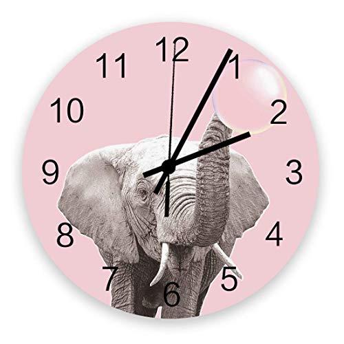 Reloj de Pared Redondo de 10 'operado por batera silencioso sin tictac Decoracin de Pared Colgante para Sala de Estar, Oficina, Dormitorio, Elefante Que sopla Goma de mascar Rosa