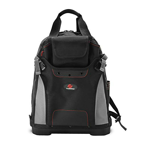 TradeGear Heavy-Duty Tool Backpack w/Reinforced Bottom - Waterproof PVC-Coated Tool Bag, Features Padded Back Support, Breathable Fabric, Multiple Storage Compartments