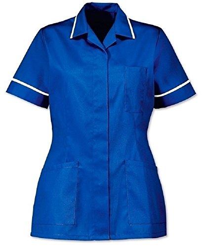 Instex Ins32RB - Túnica para Enfermeras de atención médica para Mujer, Color Azul Real con Borde Blanco, Cuello Puntiagudo Azul Azul Real con Ribete Blanco. 50