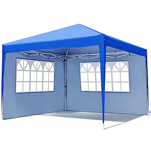 3x3M Pavillon, Pop-up-Überdachungs Zelt mit 2 Seitenwänden und Fenster, Wasserdichter Faltpavillon und UV 50+ Schutz, Höhenverstellbar, für Picknicks, Partys, Outdoor-Aktivitäten