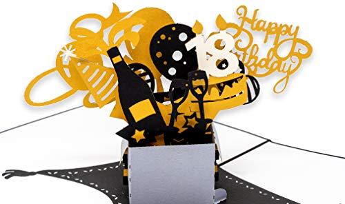 Geburtstagskarte 18. Geburtstag, Geschenkpaket mit Luftballons & Sternen, 3D Pop Up Karte, Glückwunschkarte Geburtstag, Grußkarte, Geschenkkarte als Gutschein oder für Geldgeschenk, Happy Birthday