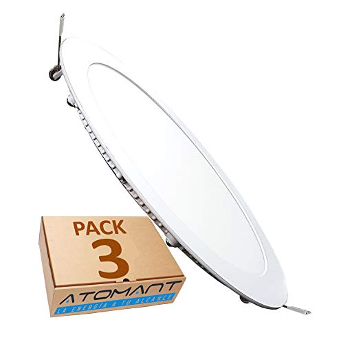 (LA) Pack 3x Panel Downlight LED redondo plano, Blanco calido (3000K). 18W. 1600 Lumenes reales. Driver incluido.