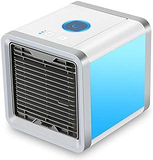 Aire Acondicionado Móvil Enfriador Ventilador USB Climatizador Mini 3 en 1 Personal Enfriador de Aire Humidificador Ventilador Escritorio con 3 Velocidades y 7 Colores LED Luz de la Noche