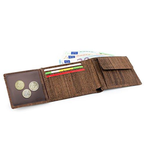 Leichtes Trifold Herren Portemonnaie vegan aus Kork mit Geschenkbox wasserabweisendes, Robustes, Handmade Portemonee (dunkel)