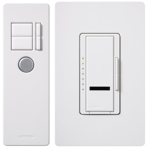 Lutron Maestro IR Dimmer Switch for Incandescent and Halogen Bulbs, Single-Pole, with IR Remote Control and Wallplate, MIR-600THW-WH, White