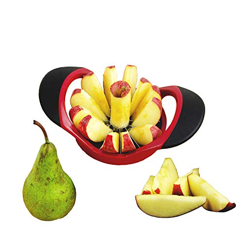 MASCHOTA® Apfelschneider Apfelentkerner mit 12 Klingen Apfelausstecher Apfelteiler Obstschneider Apfelstecher Apfelkernausstecher Ideal für Äpfel und Birnen in Rot Schwarz