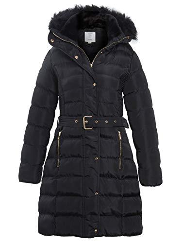 SS7 Women's Padded Faux Fur Parka Coat (Black, 12)