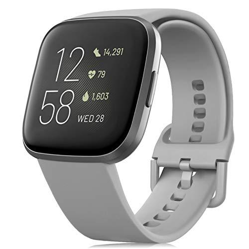 RIOROO Correa Compatible para Fitbit Versa Pulsera/Versa 2 Correa/Versa Lite Correas/Blaze Pulseras,Silicona Banda de Reloj para Hombres Mujeres, Deportivo Recambio de Pulsera Gris(Sin Reloj),L