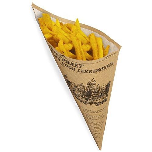 500 Papierspitztüten Snackspitztüte braun 2-lagig 23cm 250g Pommes - Zeitungsmotiv