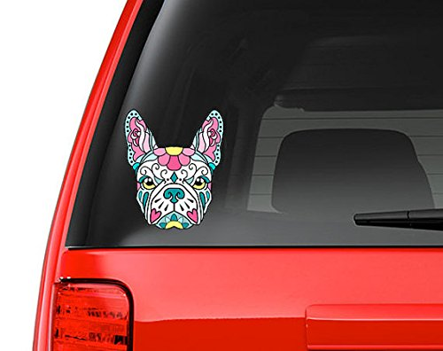 French Bulldog Sugar Skull Pink and Blue Full Color Art Vinyl Auto Decal Sticker or any Smooth Surface