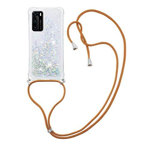 Nadoli Handykette Hülle für Huawei P40,Durchsichtig Glitzer Treibsand Flüssigkeit Silikon Handykordel Necklace Schutzhülle Handyhülle mit Umhängeband