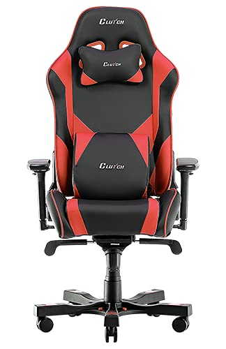 Clutch Chairz The Best Gaming Chairs - Ergonomic Gaming Chair, Video Game Chairs, Office Chair, High Chair and Lumbar Pillow for Computer Desk - Black/Red - Throttle Series
