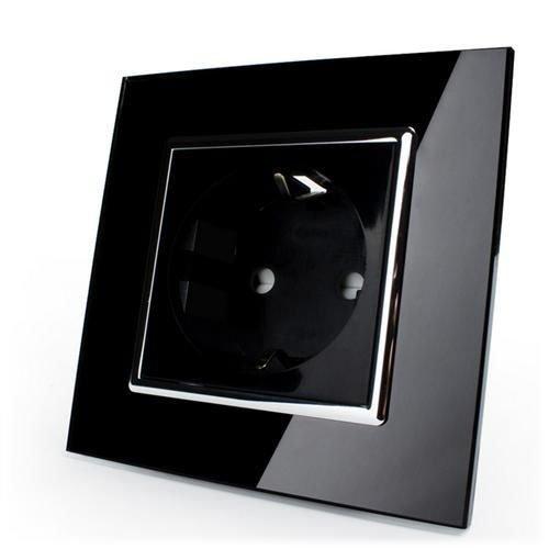 LIVOLO Steckdose 1fach Schwarz mit Glasrahmen (1Fach VLC7C1EU-12)