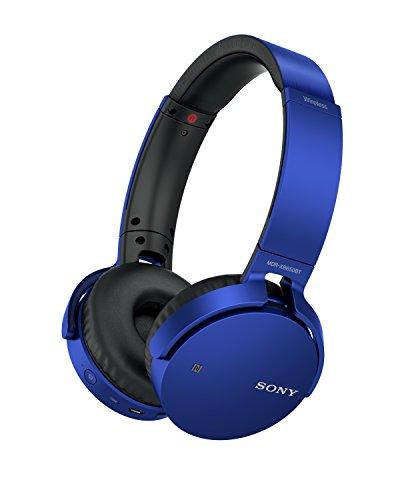 Sony MDR-XB650BT kabelloser Extra-Bass Kopfhörer (Bluetooth, NFC, weiche On-Ear Ohrpolster, hoher Tragekomfort, gute Schallisolierung, Headset mit Mikrofon für Telefon & PC/Laptop) blau