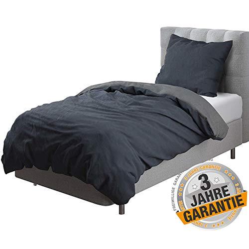 Aminata Kids Premium Wende-Bettwäsche für Männer 155x220 80x80 Baumwolle mit Reißverschluss, anthrazit dunkel-grau, Uni-Farben-Motiv, neutral, einfarbig
