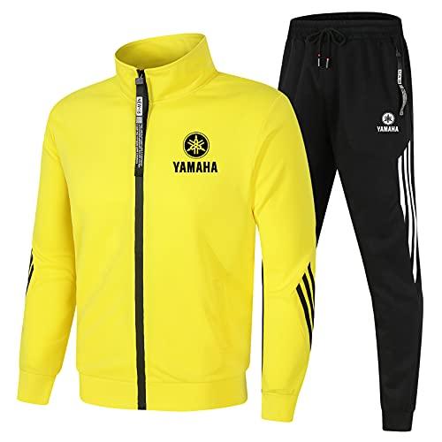 Dawnc Hombre Chándal Chaqueta Pantalones Conjuntos, Ya.m-a.ha Jogging Traje con Cremallera y Cuello Alto, Hombres de Ropa Deportiva (L,Yellow)