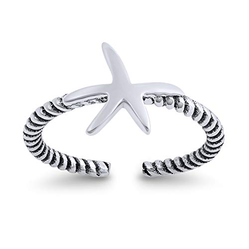 Starfish Toe Ring Band Twisted Braided Cable 925 Sterling Silver