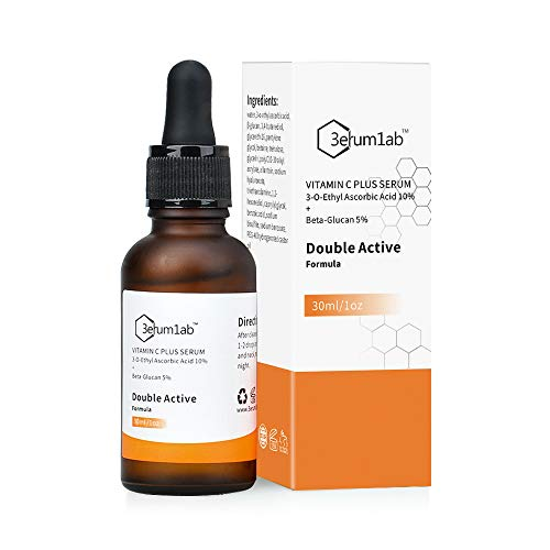 Vitamin C Serum for Face and Skin, Unique Double Active Ingredients of 10% Vitamin C & 5% Beta Glucan, Reduce Wrinkle, Fine Line, Pigment and Dark Circle, 2019 NEW FORMULA! (C)