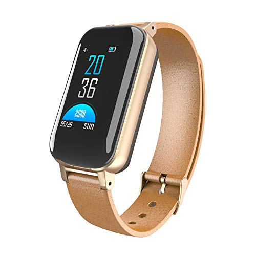 MSQL Fitness Tracker Bluetooth Headset 2 in 1 / Smart Watch Armband, IP67 wasserdicht, kompatibel mit den meisten Smartphones,Gold