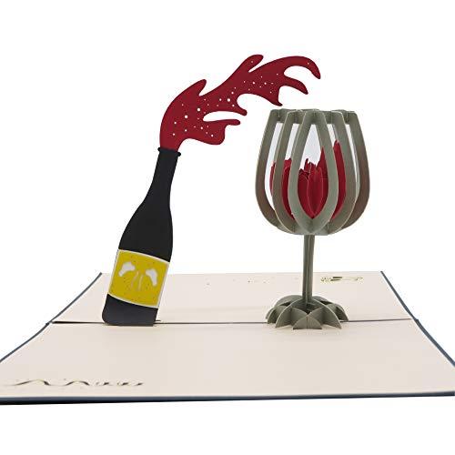 Smiling Art Pop Up 3D Karten, Glückwunschkarten inklusive Umschlag und Schutzhülle, handgearbeitet, handgefertigt, Geschenkkarte für Gutschein, Einladungskarte, Geburtstagkarte (Wein)