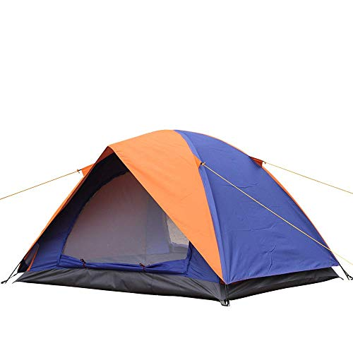 Outdoor Dome Tent, Double layer UV Shelters Tents,2000MM Waterproof/Maximum capacity 2-3 Person for Camping, Hiking Outdoor,Beach, Garden, Fishing, Picnic (Blue/Orange)