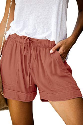 BTFBM Women Casual Shorts Plain Solid Color Elastic Waist Drawstring Pockets Summer Beach Lightweight Short Pants (Pink, Large)