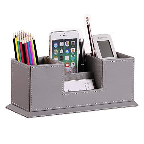 PU Leder Multifunktions-Schreibtisch-Organizer Aufbewahrungsbox Stifte- und Bleistifthalter Visitenkartenständer Schreibtisch-Organizer Set Bürotisch-Zubehör grau