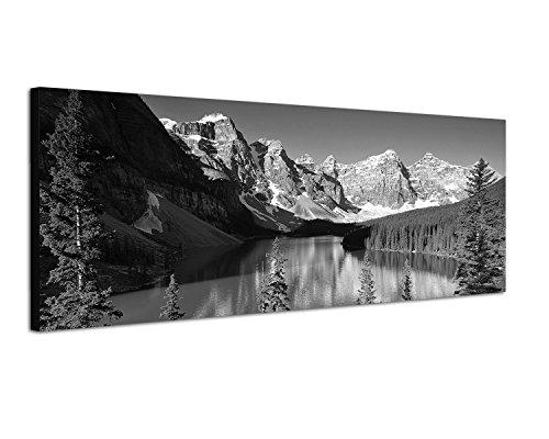 Augenblicke Wandbilder Keilrahmenbild Panoramabild SCHWARZ/Weiss 150x50cm Nationalpark Berge Waldsee Bäume Schnee