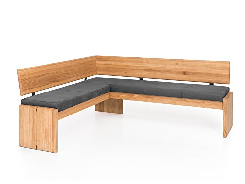 moebel-eins Scott Eckbank mit Truhe, Material Massivholz/Bezug Kunstleder, Eiche, 147 x 167 cm, grau