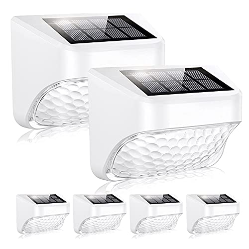 Cinbree Solar Fence Lights, 6 Pack LED Solar Deck Lights Outdoor, 2 Modes: Warm White /Cool White,IP65 Waterproof Solar Lights for Fence, Deck, Yard, Garden, Patio, Stair Step and Pathway, Wall Mount