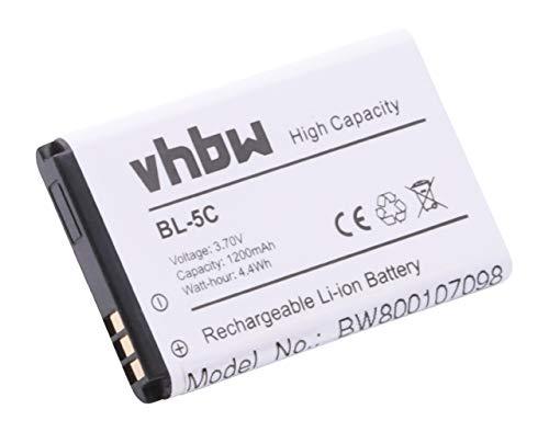 vhbw Li-Ion Akku 1200mAh (3.7V) für Handy Handy Smartphone TipTel Ergophone 6010, 6011, 6020, 6020, UNISCOPE U73