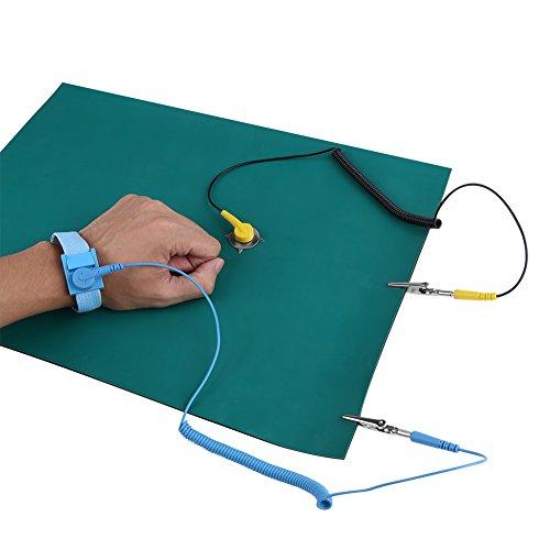 Dragonne antistatique avec protection contre les décharges électrostatiques + câble de mise à la terre + jeu de tapis pour le fonctionnement électronique sensible