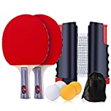 Redmoo Raquette de Ping Pong Set, Set De Tennis De Table avec Filet, 2 Raquette de Ping-Pong + 4 Balles + 1 Sac, Set Tennis de Table pour Débutants et Joueurs Avancés