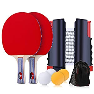 Zorara Set de Tenis de Mesa, Set de Ping Pong Portátil con Red Retráctil, 4 Pelotas Ping Pong + 2 Palas Ping Pong + 1 Bolsa, Juego de Tenis de Mesa Portátil para Interior al Aire Libre