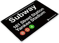 SRongmao Yankee Stadium New York Street Subway 161 レトロ 壁 バー 装飾 金属 ブリキ看板 8x12インチ