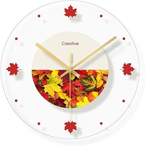 CLOCK Reloj, reloj de pared, reloj despertador, vidrio, reloj mudo de dormitorio, habitación infantil, reloj de dibujos animados de fondo de paisaje floral / 12 pulgadas (patrón: F)