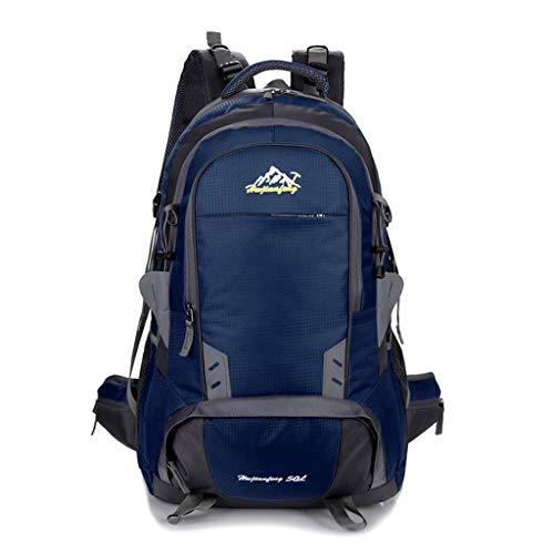 LXFMD 50L Mens Outdoor Waterproof Breathable Sports Backpack Travel Hiking Camping Rucksack Bike Bag with rain Cover Best (Color : Blue, Size : 50L)