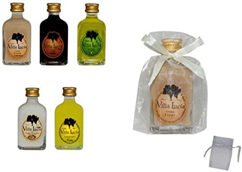 Lote de 25 Botellas de Licores LA RIVERA (A ELEGIR) en Bolsas de Tull Lisas. Detalles de Bodas Bautizos, Comuniones y Eventos.(Limoncielo)