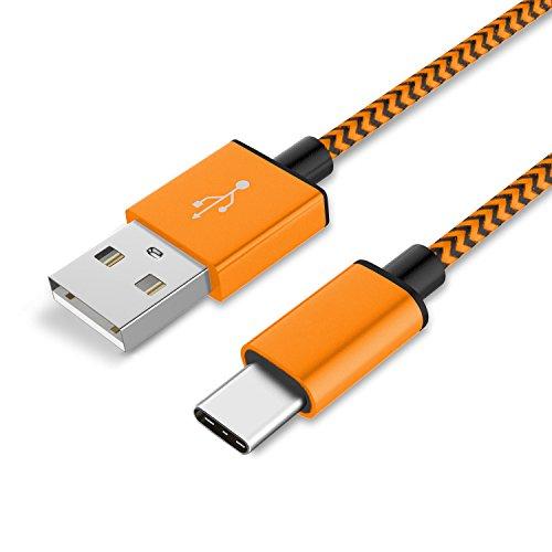 TheSmartGuard 1x USB-C Kabel kompatibel mit Samsung Galaxy S8 Plus Datenkabel/Ladekabel/USB C Premium Kabel in Orange - 1 Meter
