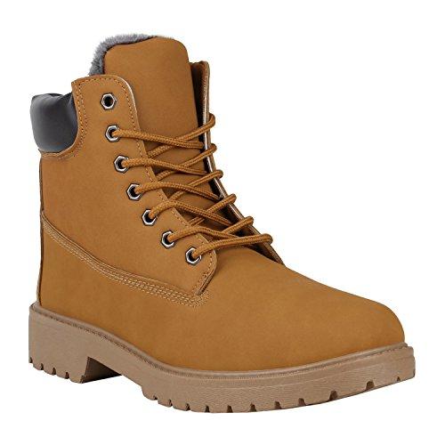 stiefelparadies Herren Warm Gefütterte Worker Boots Profil Outdoor Winter Schuhe 150389 Hellbraun Arriate 44 Flandell