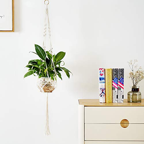 Delxo Plant Hangers 1 Pc Indoor Outdoor Wall Hanging Plant Holder with 10 Hooks Handmade Cotton...