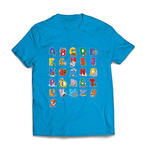 lepni.me Camisetas Hombre Alfabeto Inglés, Diseño de Canciones ABC, Aprendizaje de Letras, Regreso a la Escuela o Regalos de Graduación (XX-Large Azul Multicolor)