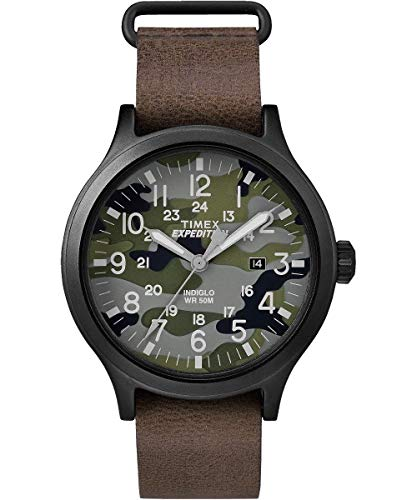 Timex Men's TW4B06600 Expedition Scout 43 Brown/Camo Leather Strap Watch