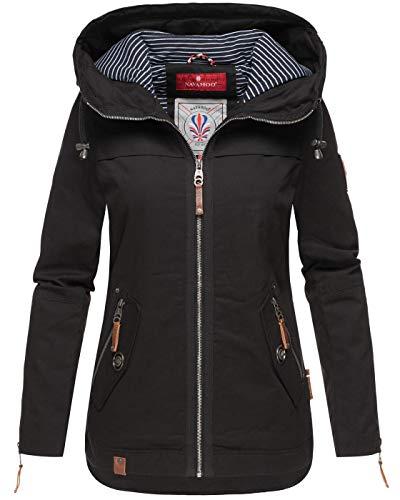 Navahoo Kurtka damska wiosna kurtka przejściowa parka płaszcz kaptur B692, czarny, XS