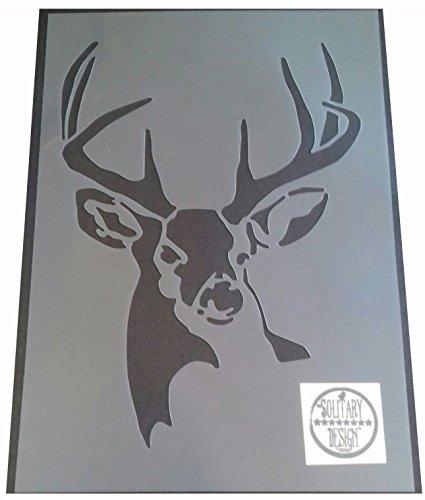Solitarydesign, Mylarfolie mit Schablonenbild eines Hirschkopfes (DES4), Wall Art, rustikaler Vintage-Stil, Shabby-Chic-Stil, A4 297 x 210 mm.