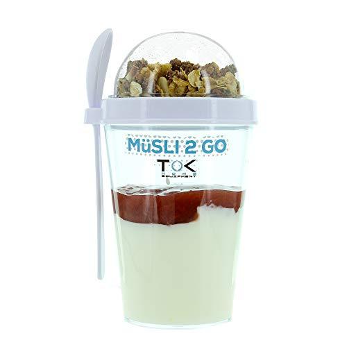 günstig TOK® Müslitasse (mit Löffel) / Joghurtbecher (mit Löffel) / vollständig versiegelt, BPA-frei, wiederverwendbar /… Vergleich im Deutschland